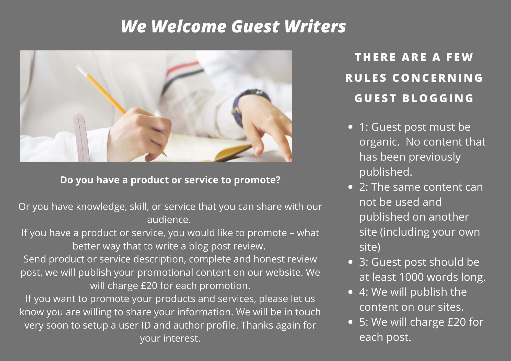 We welcome guest writers